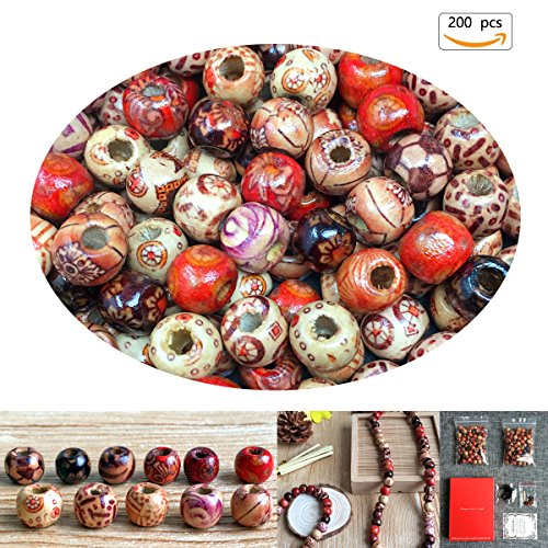 Beads Hair Crafts - Chengmu 10mm Painted Wooden Beads 200pcs Mix Color Round Loose Wood Beads for Jewelry Making Hair Accessories Bracelet Necklace Craft Hair DIY