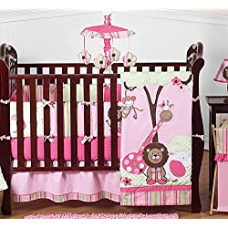 Sweet Jojo Designs Pink and Green Jungle Safari animal themed Baby Girl Bedding 9pc Crib Set