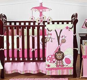 Sweet Jojo Designs Pink and Green Jungle Safari animal themed Baby Girl Bedding 9pc Crib Set