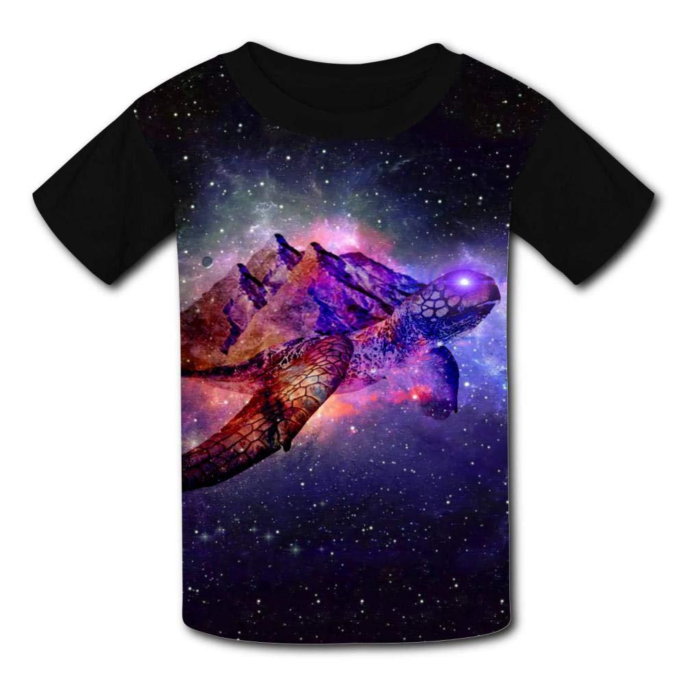 Fuxejin Creative Kids T Shirt,Galaxy Mountain Sea Turtles Print Short Sleeves Tee for Girl Boy