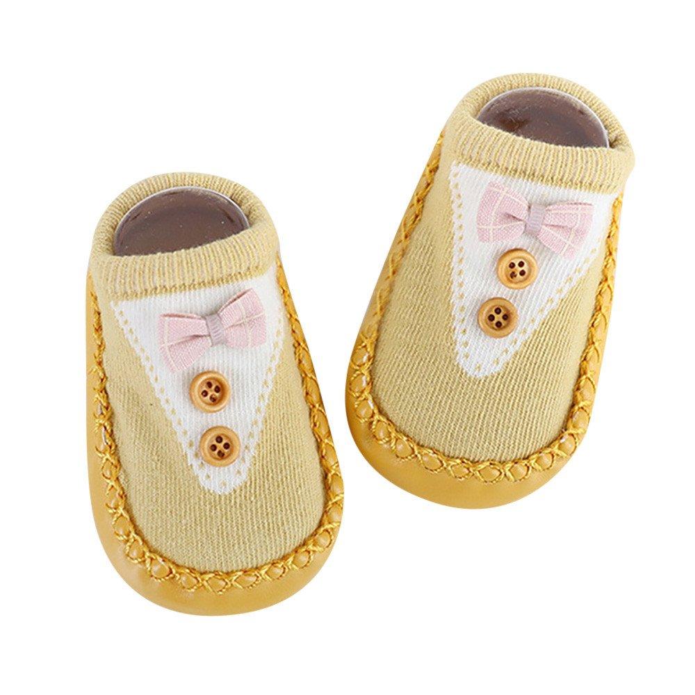Inkach Clearance Toddler Baby Anti-Slip Slipper Floor Socks Soft Bottom Non-Slip Booties Shoes (M, Yellow)