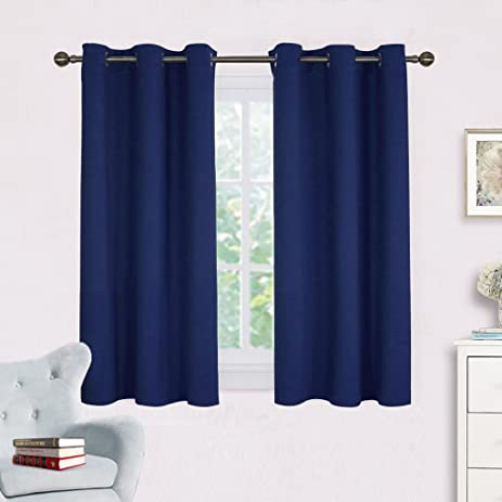 Navy Blue Blackout Draperies Curtains   NICETOWN All Season Thermal  Insulated Solid Grommet Top Blackout Curtains
