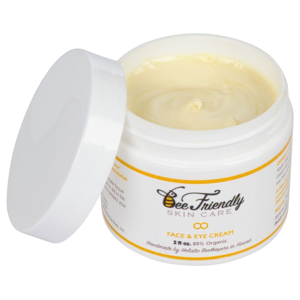 BeeFriendly Face and Eye Cream 100% All Natural 85% Organic Moisturizer, All In One Face, Eye, Neck, Decollete Cream, 2 oz