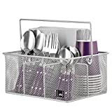 Silver Utensil Holder By Mindspace, Kitchen Condiment Organizer and Flatware Utensil Caddy | The Mesh Collection, Silver