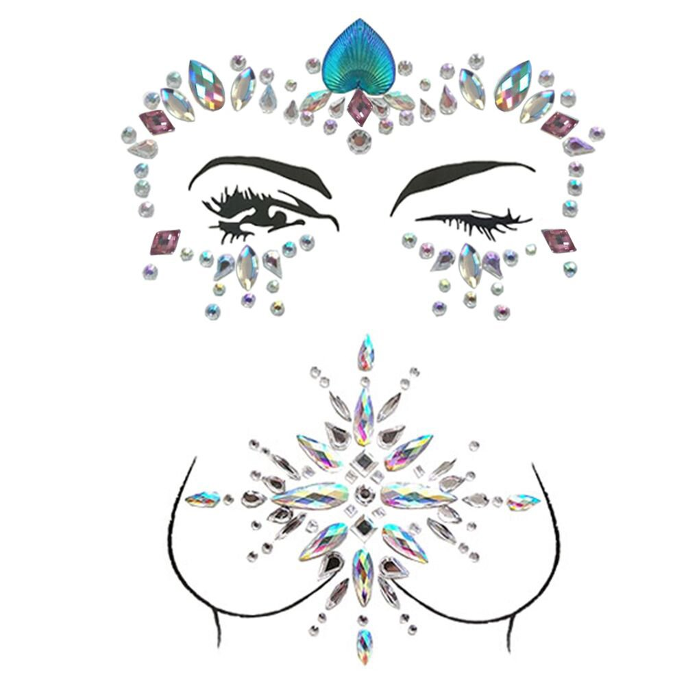 ZLXIN Face Chest Gems, Temporary Tattoo Stickers, Self-adhesive Glitter Rhinestone Body Jewels, Waterproof Crystal Face Breast Chest Gems for Rave Festival, Party or Music Concert(One Set) ZhongLI