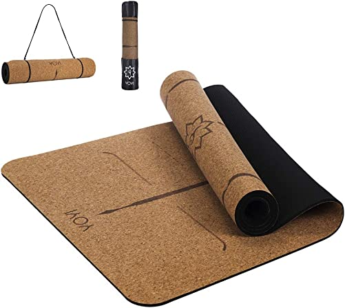 YOYI TPE Non-Slip Yoga Mat, Body Alignment System, Eco-Friendly Fitness Exercise Mat, Workout Mat for Pilates, and Floor Exercises, 72 x 24 Thickness 1 4 inch, with Carrying Strap Bag