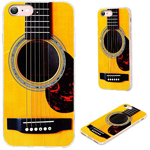 iPhone 8 Case,iPhone 7 Case,VoMotec [Cute Series] Shockproof Anti-Scratch Slim Flexible Soft TPU Protective Skin Cover Case for Apple iPhone 7 8 4.7 inch,Funny Yellow Acoustic Guitar (Pretty Guitar Case)