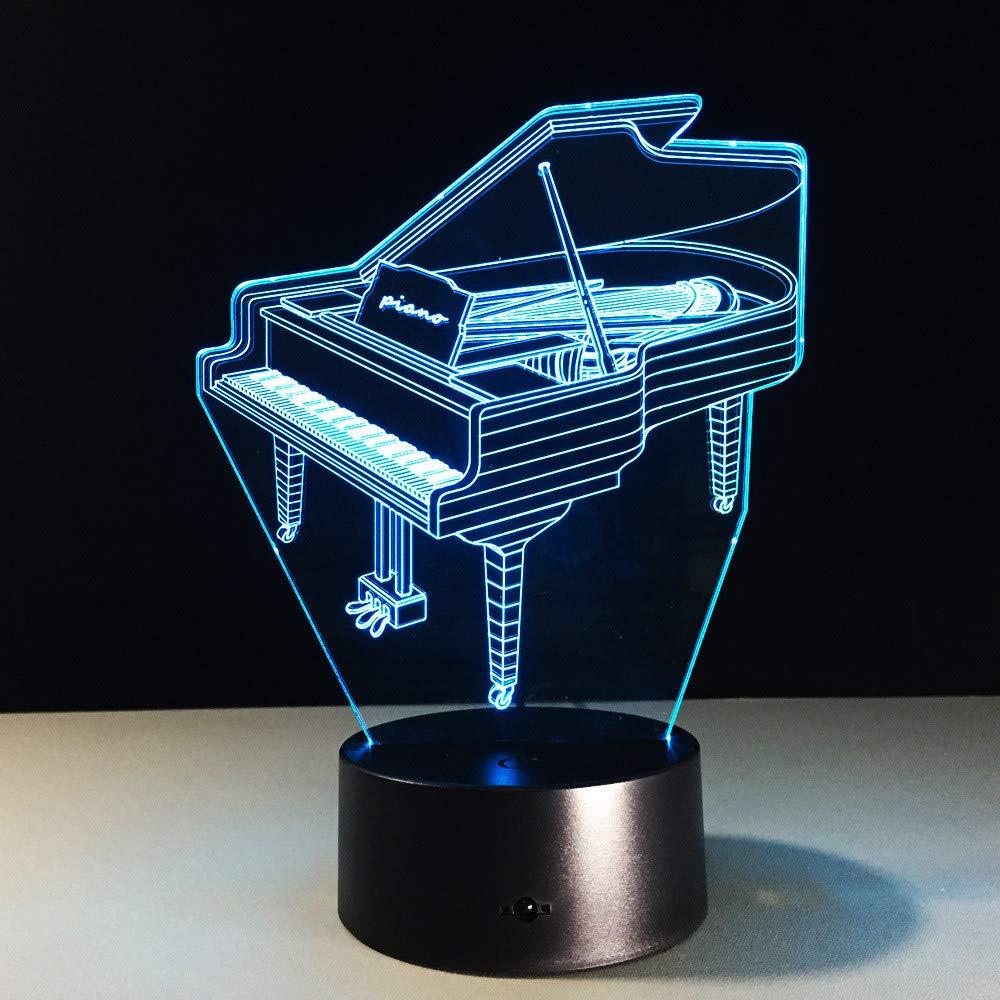 Mddjj Power Bank Usb Led Piano 3D Lámpara Touch Interruptor Remoto 3D Led Night Light Con Pilas Led Usb Light Luz De Dormitorio: Amazon.es: Iluminación