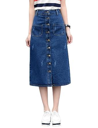 fc8e1ead6a IDEALSANXUN Women's High Waist A-line Denim Skirts Button Down Long Jean  Skirt at Amazon Women's Clothing store: