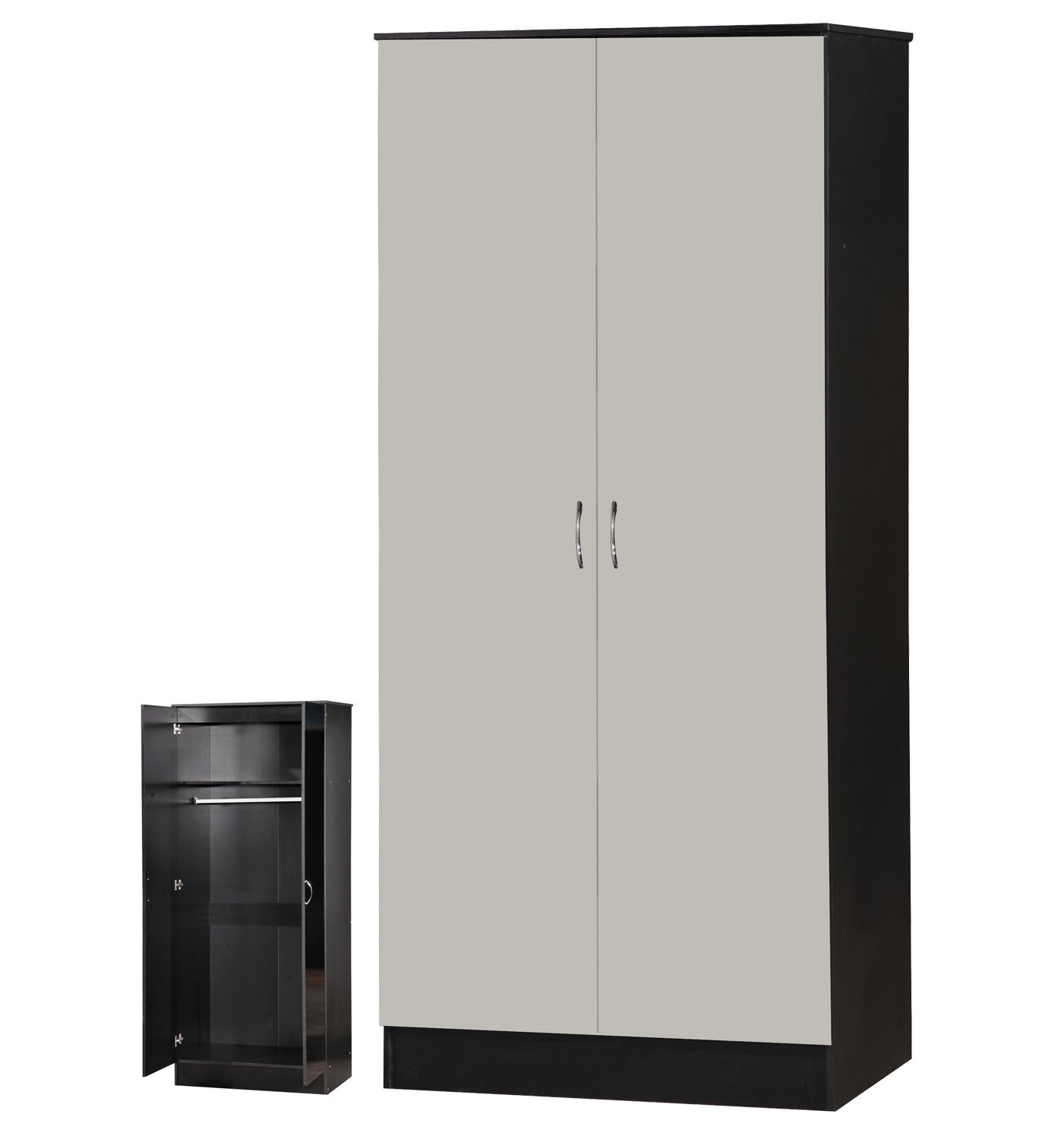 Alpha High Gloss 2 Door Wardrobe with Shelf and Hanging Rail - Bedroom Furniture (Black) ARKFW