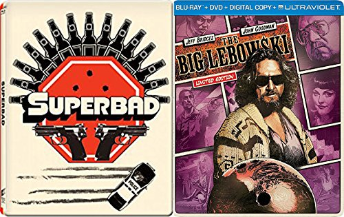 Superbad + The Big Lebowski Steelbook DVD + Blu Ray Exclusive 2 Pack Comedy Bundle Movie Set
