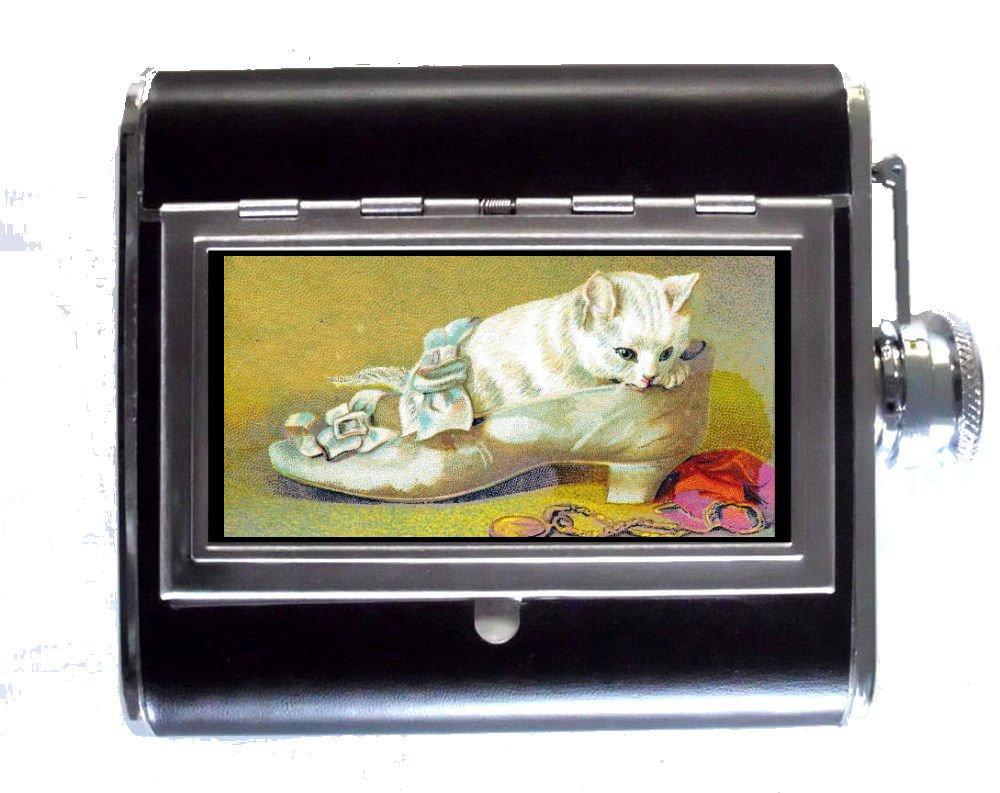 Kitten White Cat In Victorianアート: Shoe Sweet Victorianアート: 5ozステンレススチール&レザーヒップフラスコと組み込みシガレットケース Kitten In B00NALIZXU, e-はんこ:06bdebee --- ijpba.info