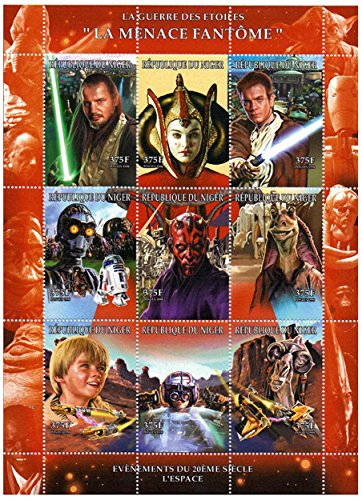 Star Wars stamps - Star Wars The Phantom Menace - 9 stamps. Mint and never mounted stamp sheet
