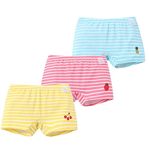 Ding Dong Toddler Kids Girls Striped Boxer Brief Cotton 3 Pack Underwear2t