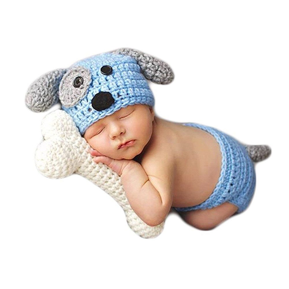 Fashion Newborn Baby Photography Props Boy Girls Photo Shoot Props Outfits Crochet Knitted Costume Unisex Cute Infant Hat Pants Set (Blue Dog)