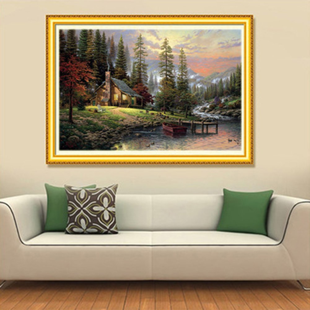 22X14inch//55X36CM Blxecky 5D DIY Diamond Painting By Number Kits,Evening scenery