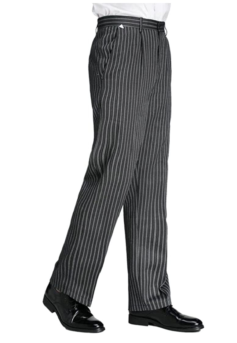 Edwardian Men's Pants, Trousers, Overalls Fly Year-uk Mens Classic Baggy Chalk Stripe Chef Pants  AT vintagedancer.com