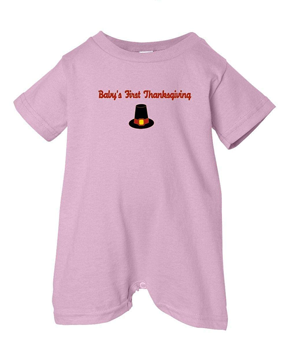 Festive Threads Unisex Baby Babys First Thanksgiving Pink, 6 Months Pilgrim T-Shirt Romper