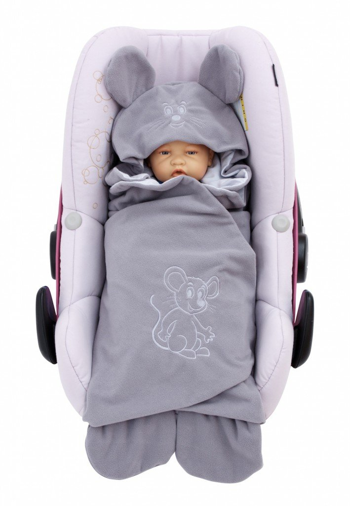 ByBoom® - Swaddling Wrap, Car Seat and Pram Blanket for Spring, Summer and Autumn/Fall, Universal for infant and child car seats eg; Maxi-Cosi, Britax, for a pushchair/stroller, buggy or baby bed, Color:Dark Grey/Grey - Mouse