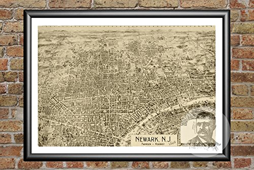 Ted's Vintage Art Newark New Jersey 1895 Map Wall Art Print   Museum Quality Matte Paper   Ideal for Home & Kitchen Decor   Digitally Restored Historic Lithograph Poster 24