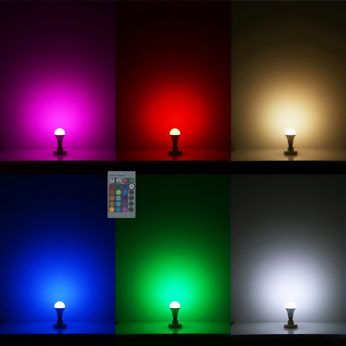 Lightahead® 16 Color Dimmable LED Light Bulb with IR Remote ...
