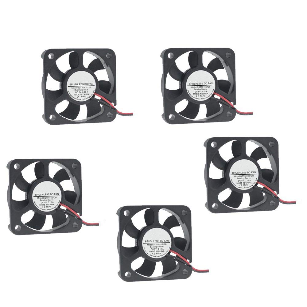 Ximimark 5pcs Dc12v 2pin Quiet Brushless Cooling Fan 50mm...