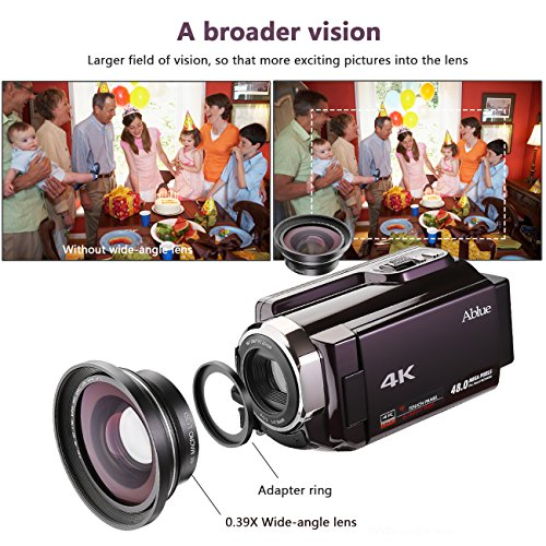 "Ablue Camcorders, 4K Ultra-HD Portable 30FPS Wifi Digital Video Camera, IR Night Vision Camcorder 3.0"" Touch Screen with Wide Angle Lens"