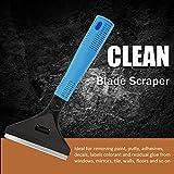 TecUnite Long Handle Blade Scraper 4 inch Multipurpose Blade Metal Utility Scraper with 10 Pieces Stainless Steel Blades