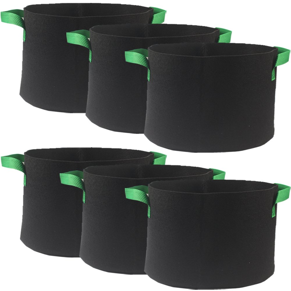 Casolly Grow Bag/Aeration Fabric Plant Pots with Green Handles for Plants,15-Gallon 6-Bag