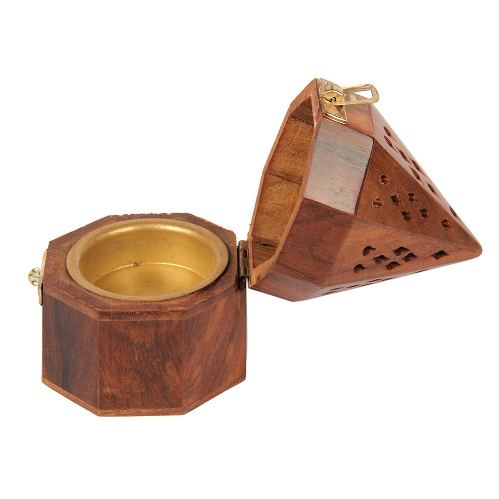 Aheli Wooden Classic Temple Style Dhoop Incense Burner Holder with Base Square and Top Cone Shape Dhoop Holder by Aheli (Image #3)