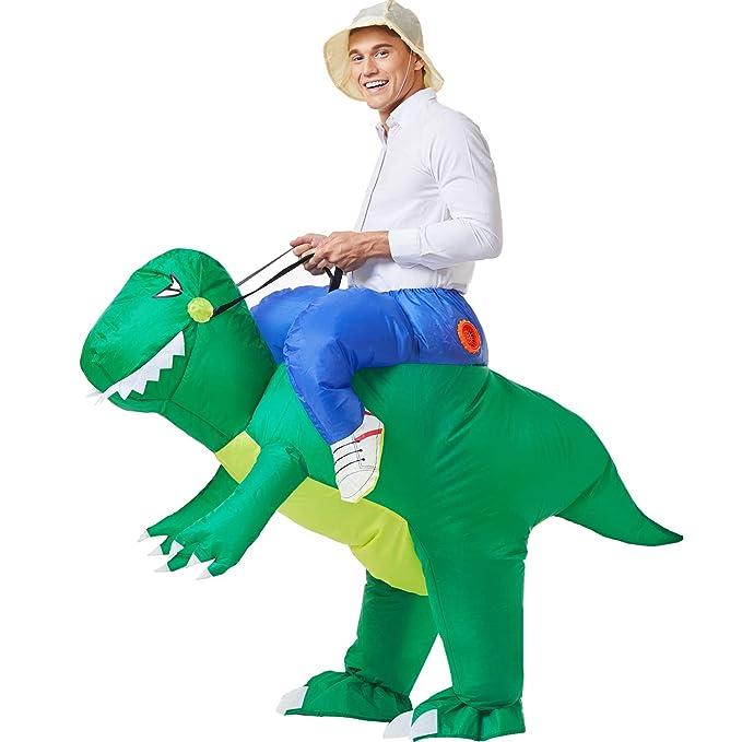 YEAHBEER Dinosaur Inflatable Costume T,Rex Fancy Dress Halloween Blow up  Costumes