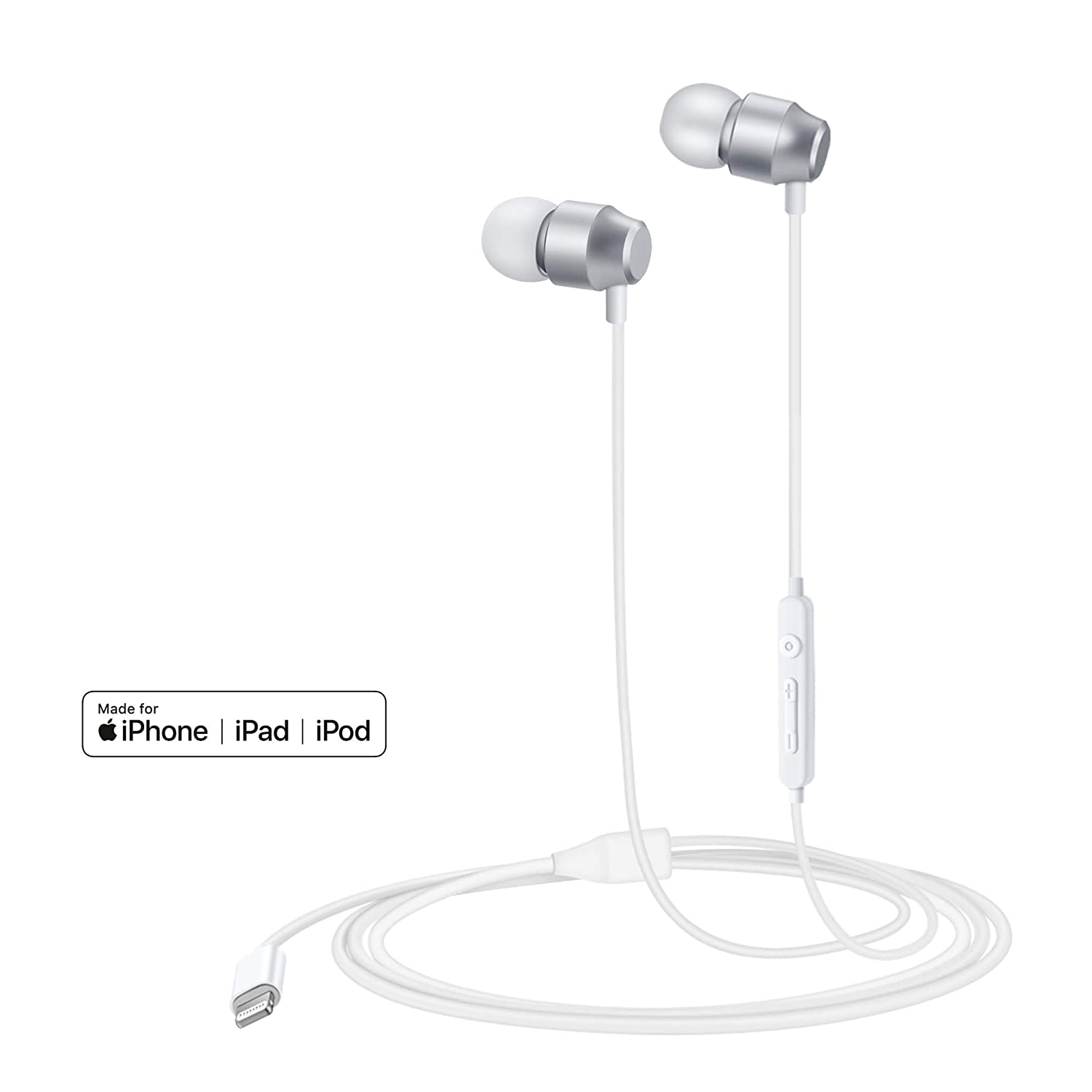 PALOVUE Earflow in-Ear Lightning Headphone Magnetic Earphone MFi Certified Earbuds with Microphone Controller for iPhone X iPhone 8/P iPhone 7/P (Mettalic Silver)