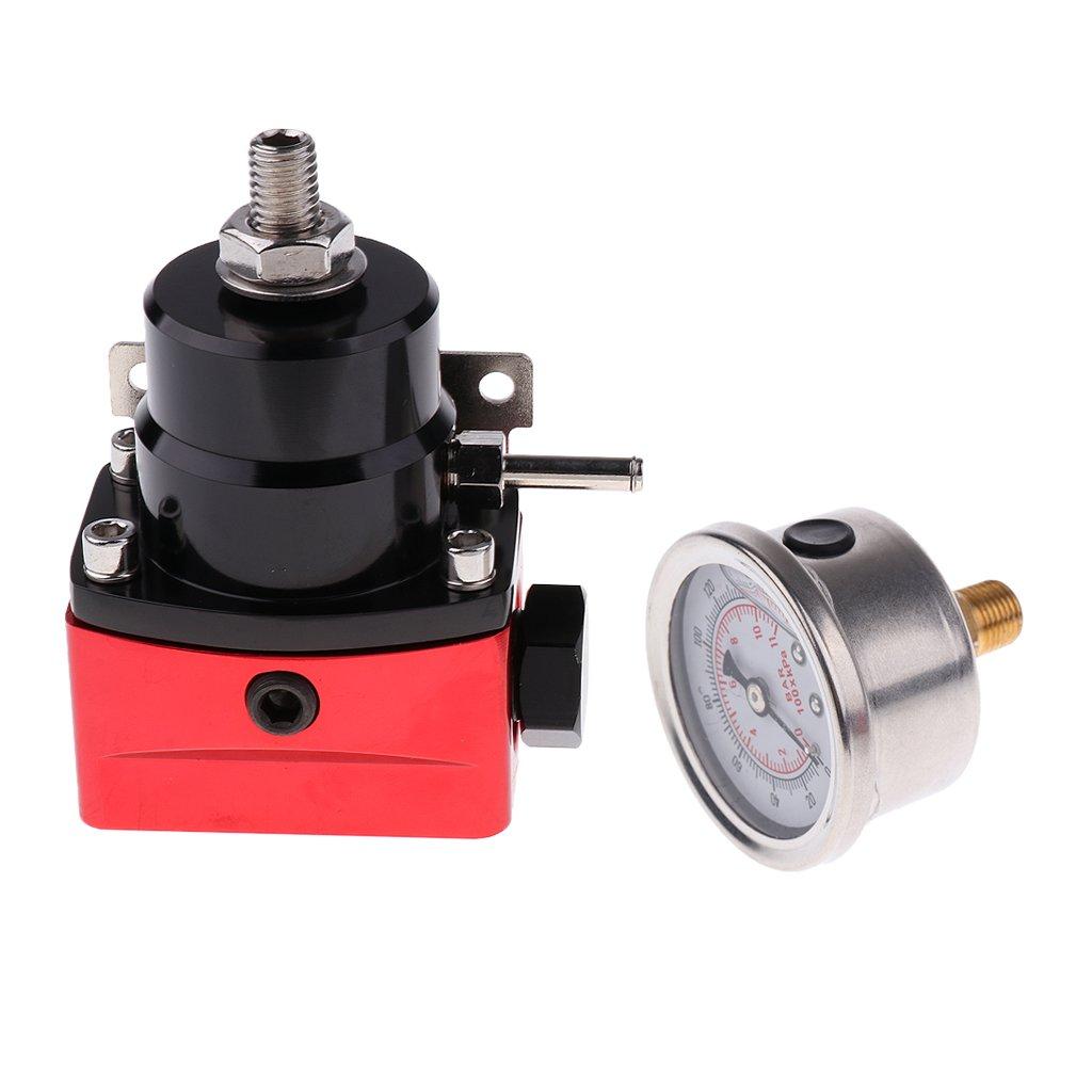 Dolity Regolatore Pressione Carburante Bypass Iniezioni Turbocompresso Motori Veicoli Alluminio - Nero e Rosso