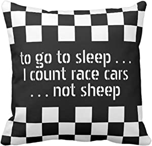 Throw Pillow Cover Car Cool Black White Formula Checkered Pattern Motorsport Decorative Pillow Case Home Decor Square 16 x 16 inch Pillowcase