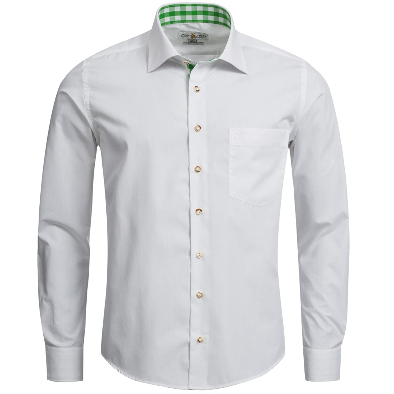 Trachtenhemd Slim Fit zweifarbig in Weiß und Grün von Almsach