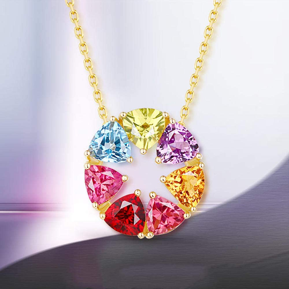 Necklaces Jewelry Gifts Pendants Fashion Multicolor Crystal Zircon Diamonds Gemstones Penant Necklaces for Women 18K Gold Color Choker Jewelry Party Gifts