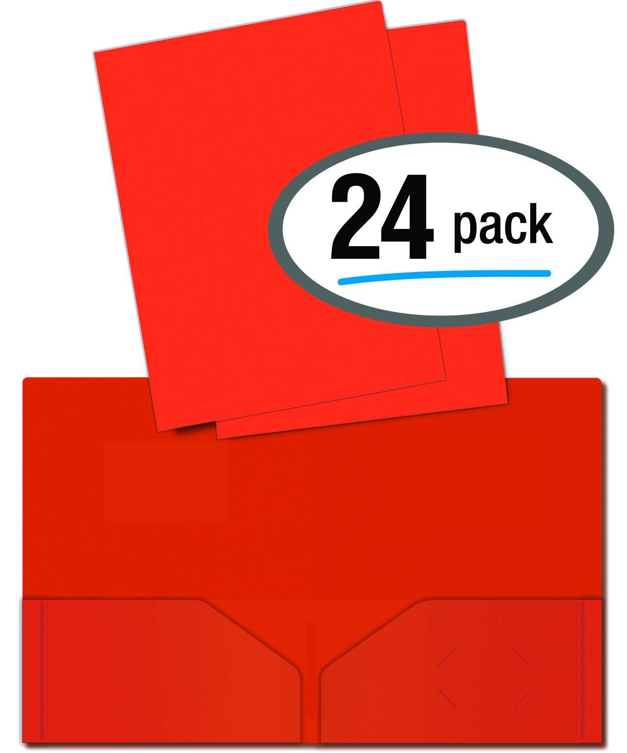 Heavyweight Plastic 2 Pocket Portfolio Folder, Letter Size Poly Folders by Better Office Products, 24 Pack (Orange) by Better Office Products