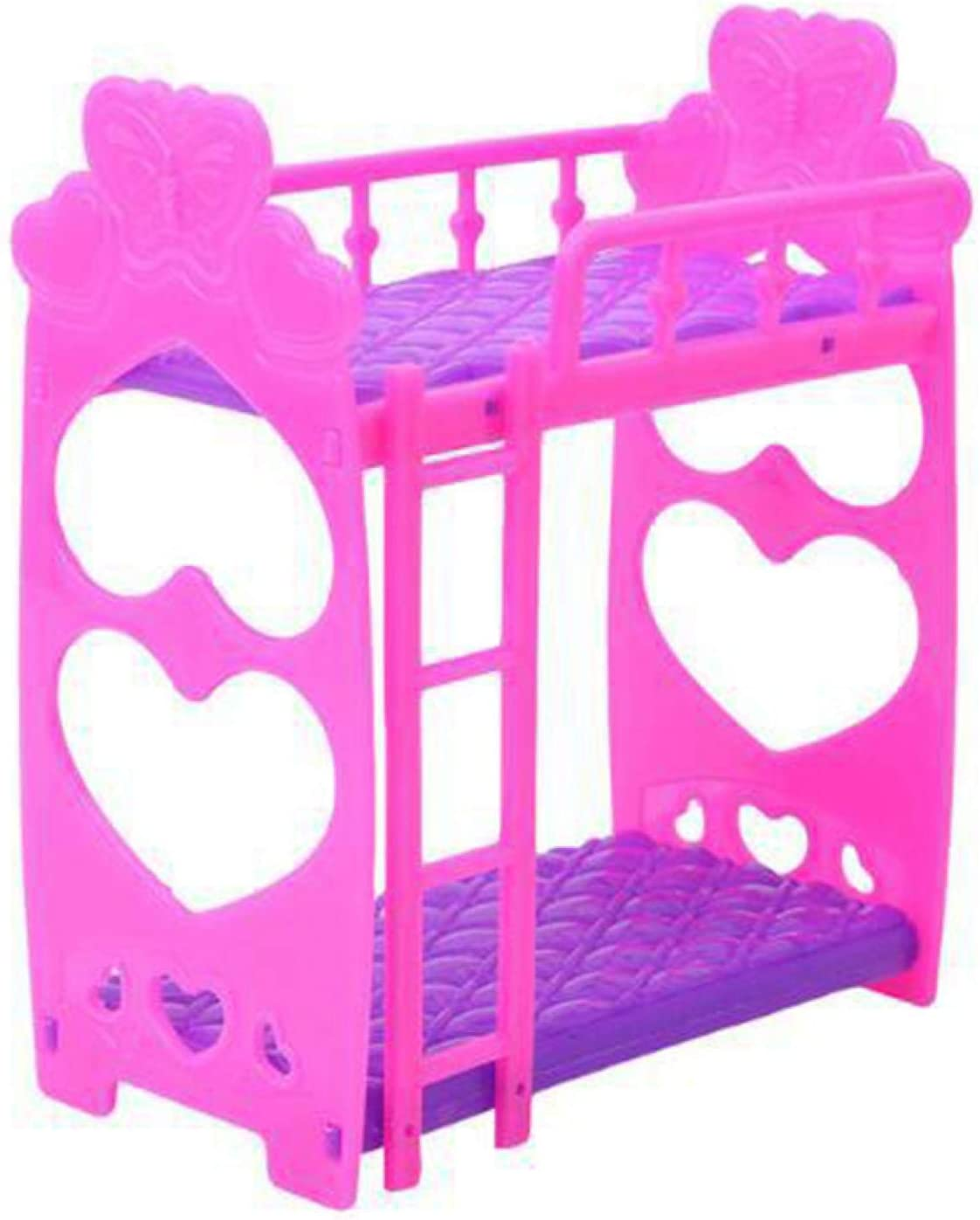 CALIDAKA Double Doll Bunk Bed, Doll Wooden Bunk Bed with Ladder, Bedroom Furniture Bed for Barbie Dolls Dollhouse, Stackable Purple Wood Bunk Bed for Dolls, Girls Gift Dollhouse Toy
