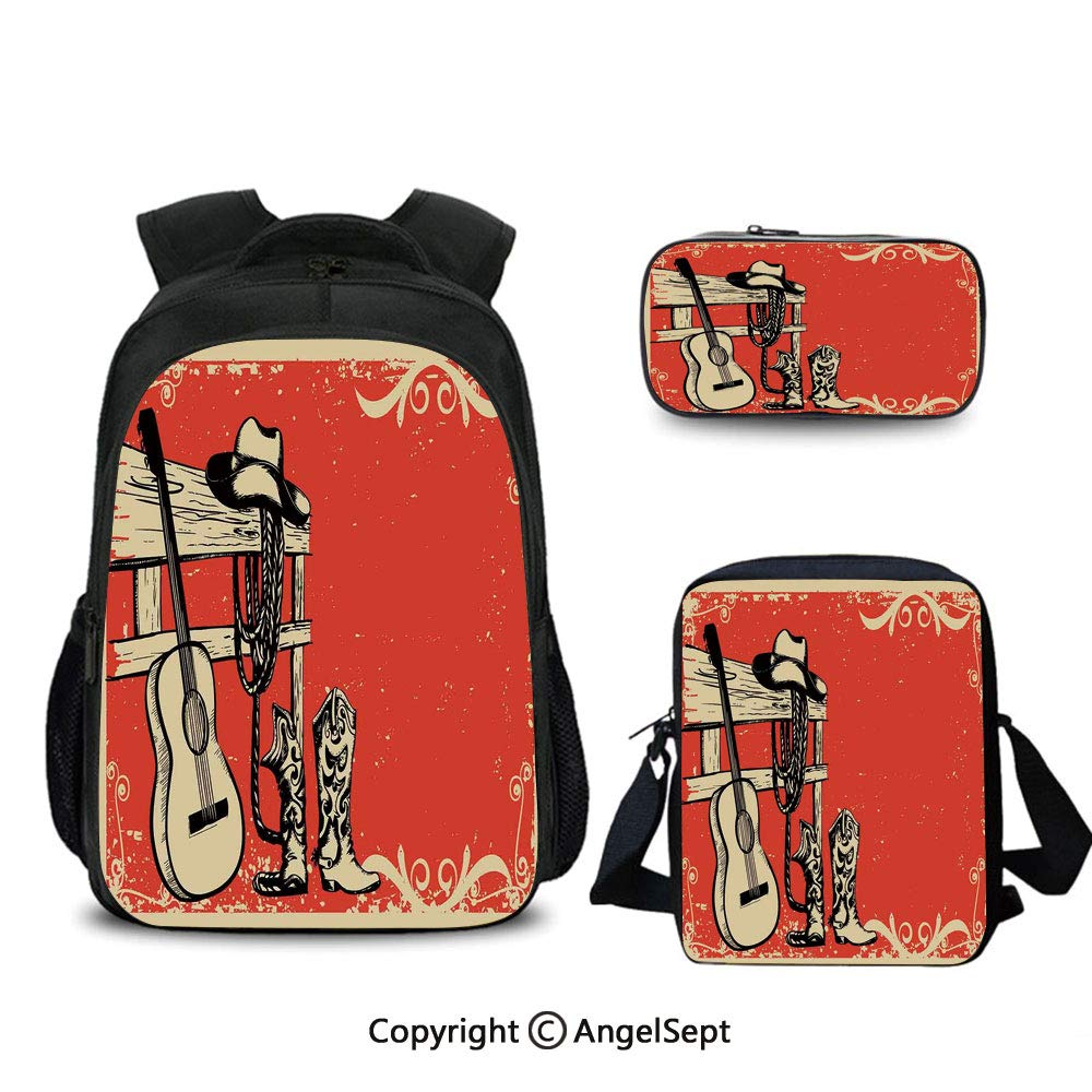 Western,Kids Toddler School Waterproof 3D printed 16'' Backpack,with shoulder bag Pencil bag 3 set,Image of Wild West Elements with Country Music Guitar and Cowboy Boots Retro Art Decorative by Homenon
