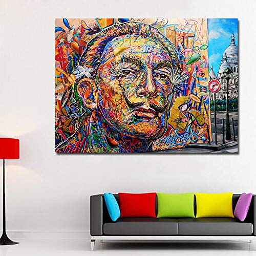 Faicai Art Salvador Dali Colorful Portrait Oil Painting Wall Art Pop Art Canvas Posters Prints for Kids Room Living Room Home Decoration Framed Ready to Hang 24