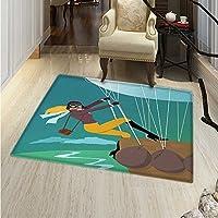 Explore Small Rug Carpet Vintage Cartoon Style Explorer Spy Woman Figure Adventurer on a Hot Air Balloon Door mat Indoors Bathroom Mats Non Slip 2x3 Multicolor