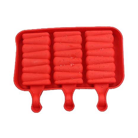 joyliveCY Barra de silicona molde de helado, caucho de silicona, Rojo, Helical