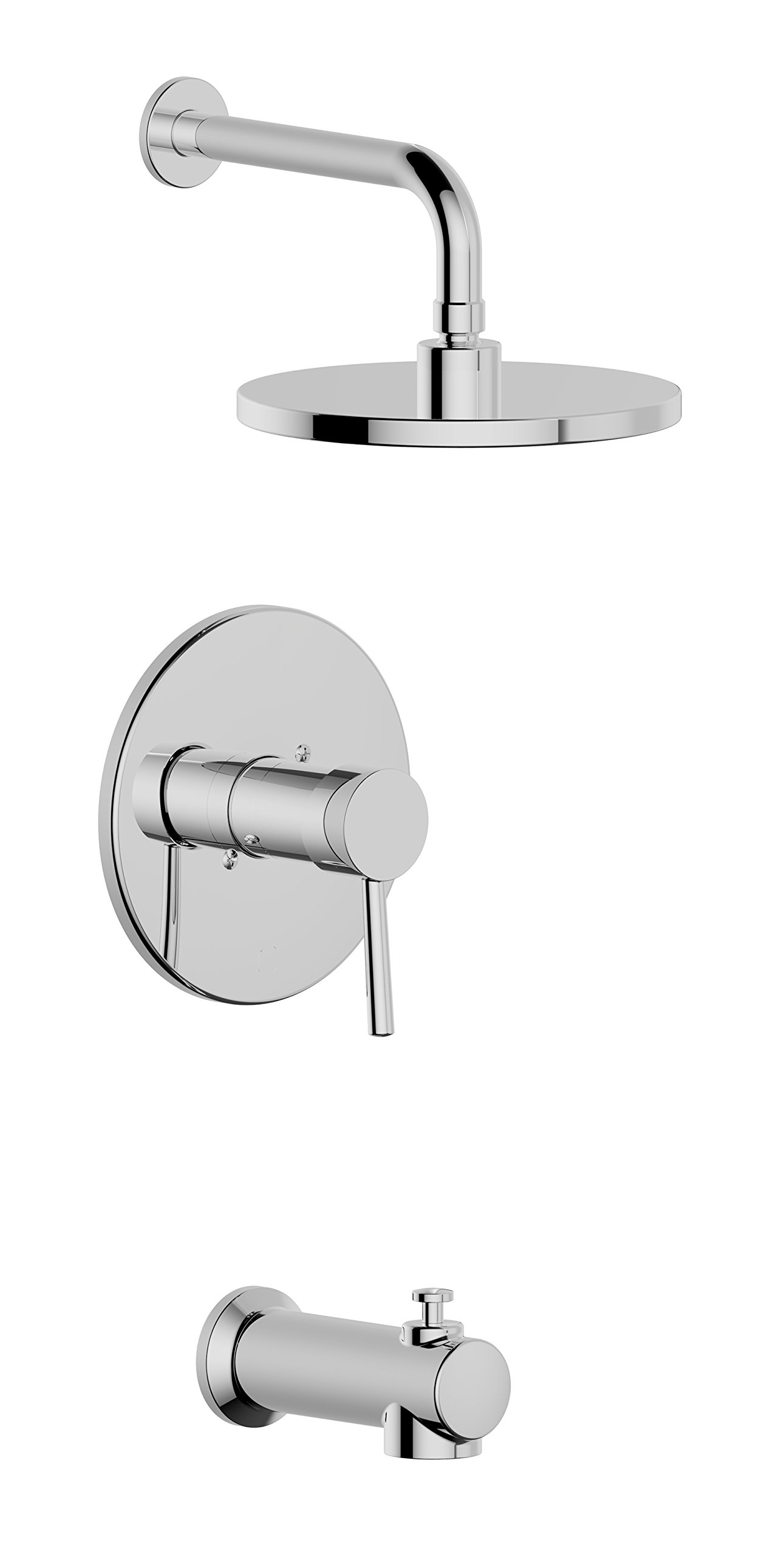 Serenade STS01-PC Single Handle Tub & Shower Faucet, Pressure Valance Valve,with 8'' Showerhead and Spout, Meets UPC, cUPC, ASSE1016 Standard,Polished Chrome Finished