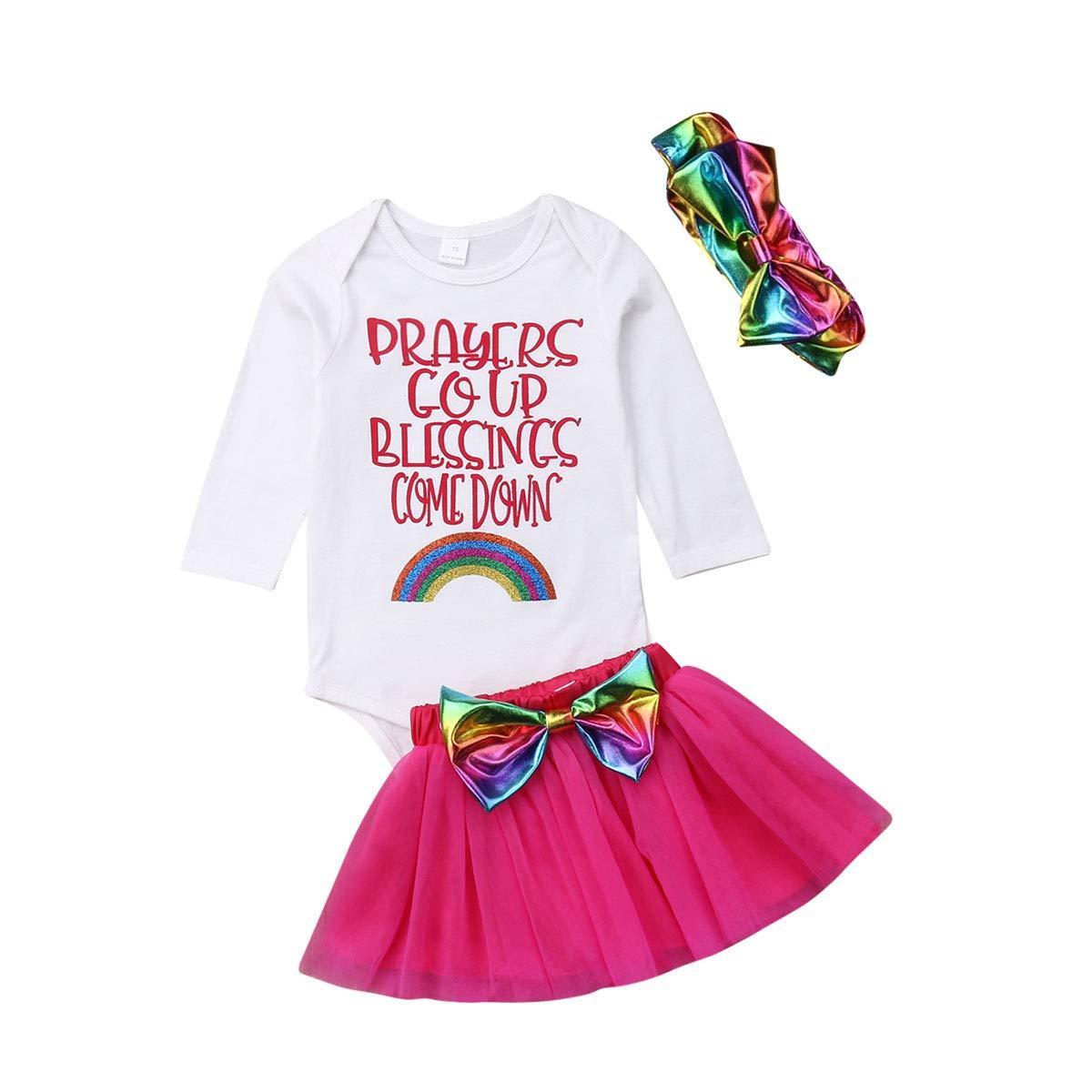 Long Sleeve Romper Bowknot Tulle Tutu Skirt Headband 3Pcs Clothing Sets Newborn Baby Girls Skirts Outfits
