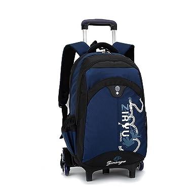 e613bbaf05 YUB Trolley School Bag students Backpack Rolling Bag Children Travel  Backpacks Nave Blue with Six Wheels
