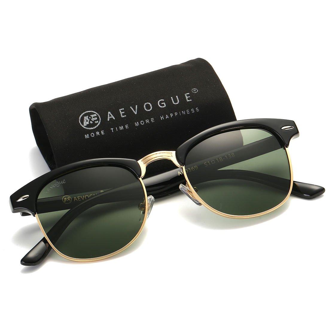 AEVOGUE Polarized Sunglasses Semi-Rimless Frame Brand Designer Classic AE0369 (Black&G15, 48)