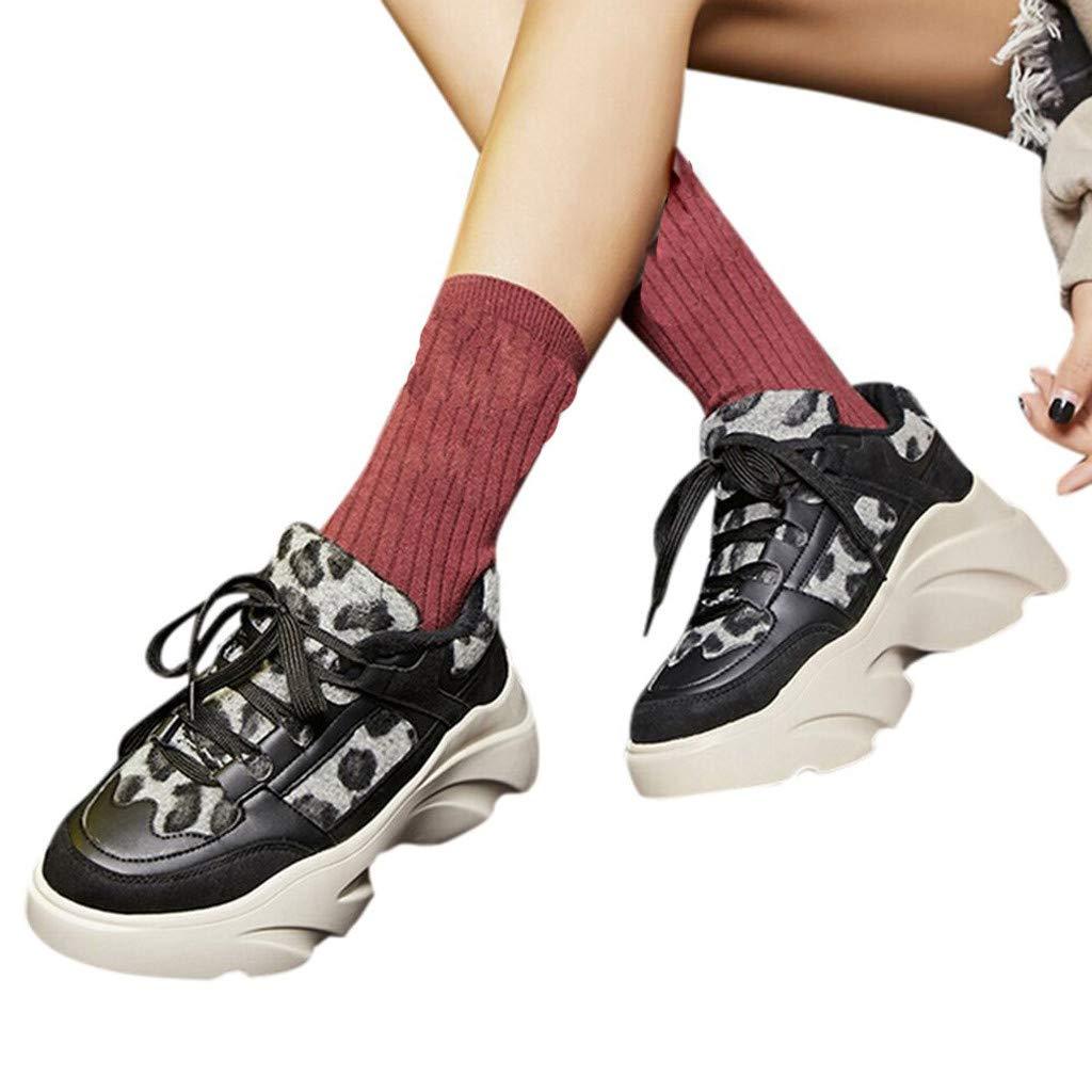 Bestow Zapatos Casuales de Terciopelo con Estampado de Leopardo y Terciopelo. Zapatillas de Plataforma con Forma de Torta de Esponja Salvaje.