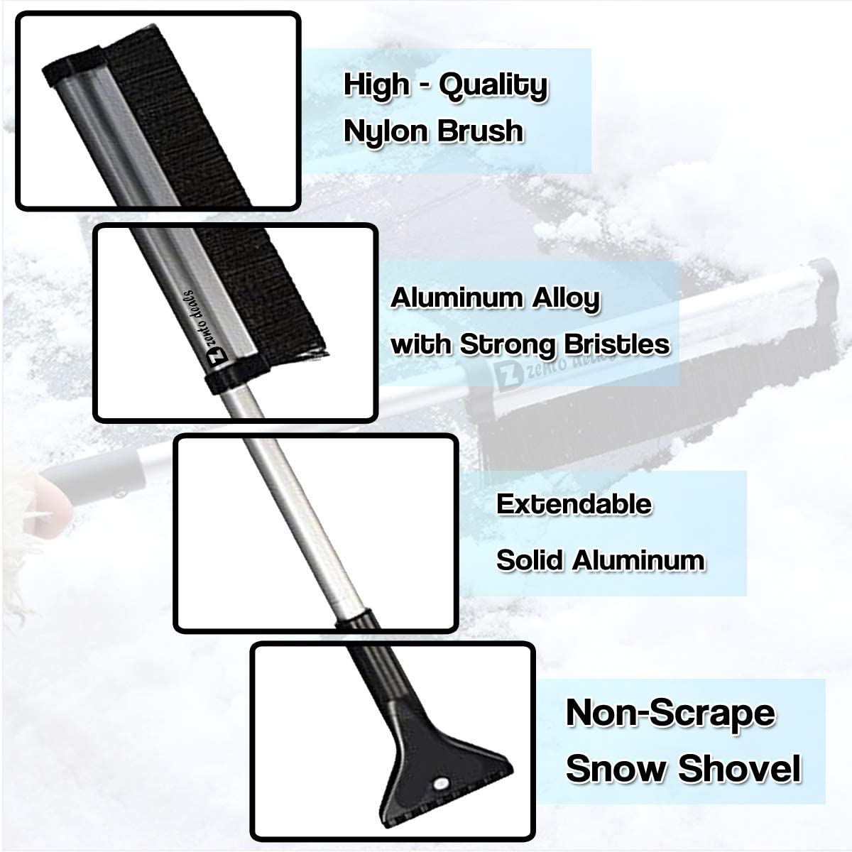 Zento Deals Extendable Telescoping Ice Scraper and Snow Brush Extends from 17 to 24 Lightweight Sturdy Aluminium Design