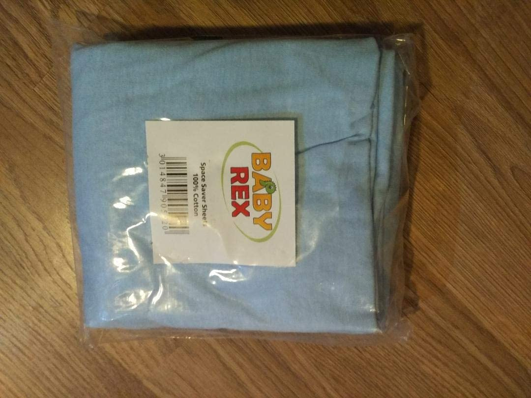 Blue 2 x White Baby Fitted Sheets to fit Space Saver 100 cm x 50 cm 100/% Cotton