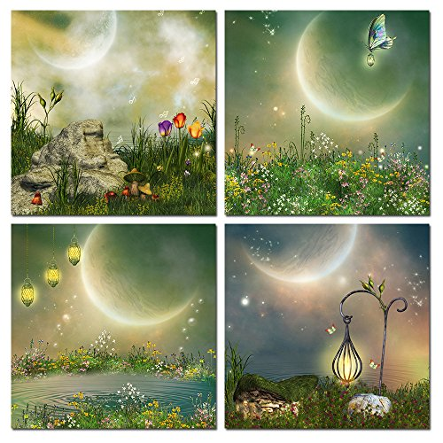 - The Melody Art - Modern Decor Stretched and Framed Giclee Prints Artwork Fantasy Fairy Tale Pictures Paintings on Canvas Wall Art for Nursery Kids' Bedroom Home Decorations Set of 4, 12 by 12 Inch